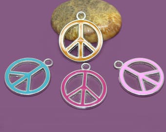 4 charms in peace and love enameled 29x24mm colors