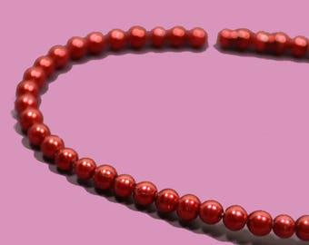 50 perles 3mm imitation perle de culture couleur rouge irisé