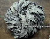 Pure Sari Silk, Medium Silver Gray Goose, Per Yard, Recycled Sari Silk, Fair Trade, Fabric, Ribbon, Yarn, Silk, ArtWear Elements, 302