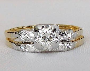 Art Deco Two Tone Diamond Wedding Set - Classic and Sparkling! GIA Graduate Gemologist Appraisal Included 1,430 for the Set!