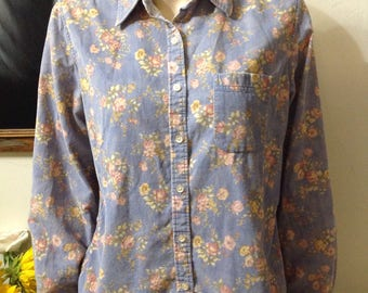 Vintage LL Bean Floral Corduroy Button Up - LL Bean Weathered Purple Corduroy Top