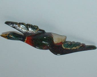 1940s hand painted wooden bird brooch