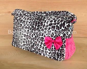 Diaper Bag- Snow Leopard/ Hot Pink