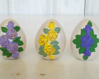 Ceramic Easter Eggs/Painted Roses in Relief/Set of 3/Homemade Craft Hand Painted/Life Size/Egg Collection/Cute Eggs/lindafrenchgallery