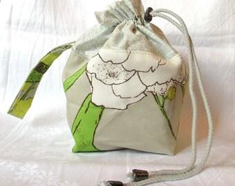 Mini Commuter Pack Sack, knitting project bag, crochet project bag; strap, drawstring, cotton/linen, feelgood knitting tool, printed fabrics