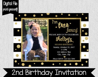 Two Fancy Birthday Invitation - I'm Two Fancy - Black and Gold Birthday Invitation - 2nd Birthday Invitation - Girls Second Birthday Invite