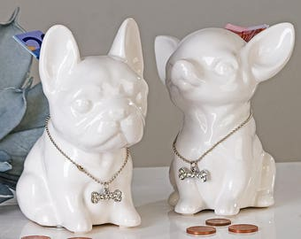 "Moneybox FRENCH BULLDOG ""Comics"" model white, height 4.7 inches"