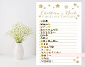 Children's Book Emoji Pictionary printable, Twinkle Little Star baby book shower game, baby boy girl, gold glitter star INSTANT DOWNLOAD 006