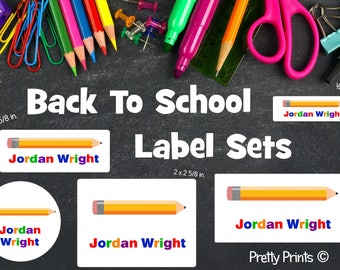 School Labels, Back to School Label Set, Personalized Stickers, Personalized Labels, School Supply Labels - Pencil Labels