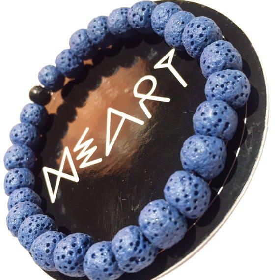 Sea Blue Raw Lava Stone Oil Diffuser Beaded Charm Bracelet, Aroma Therapy, Custom, Mala, Yoga, Meditation, Unisex, Men, Women, baby