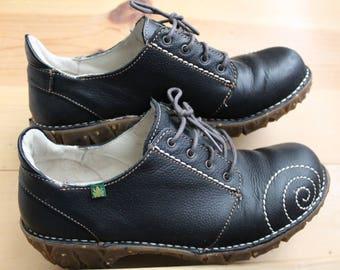 Black El Naturalista Retro 1940s Style Oxford Shoes Size 40