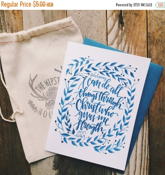 ON SALE I can do all things through Christ who strengthens me, Philippians 4:13, Christian encouragement card, sympathy card, bible verse ar