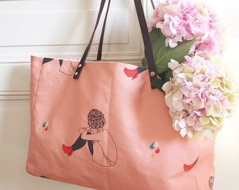 Illustrated shopping bag linen cotton and leather Red Boots