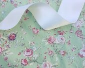 Pistachio green and pink vintage floral flower cotton fabric by HALF METRE