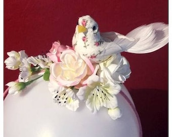 Romantic Fascinator with cherry blossom and little bird!