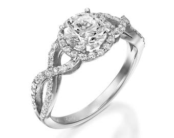 2 ct moissanite ring moissanite halo engagement ring white gold ring engagement ring - Moissanite Wedding Rings