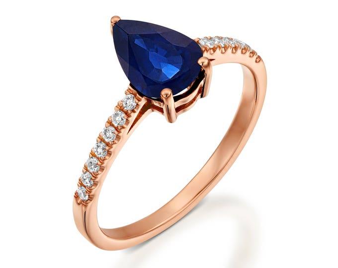 Blue Sapphire Diamond Engagement Ring -Rose Gold Ring-Sapphire Engagement Ring -Pear shaped sapphire-Promised ring-Blue Sapphire ring
