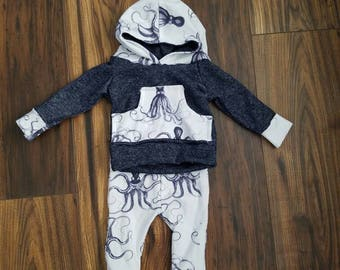 Baby boy Navy Octopus hoodie outfit!