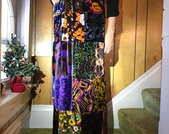 Velvet Patchwork Print Maxi Skirt/Boho/Hippie/Small/Lined/Jewel Tones/Psychadelic/Tapestry/Size 2-4/1960s 70s/Festival/Concert