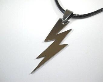 Stainless Steel Lightning Bolt Pendant Necklace, Bolt Charm Necklace, Harry Potter Lightning Bolt, Men's Necklace, Women's Necklace,