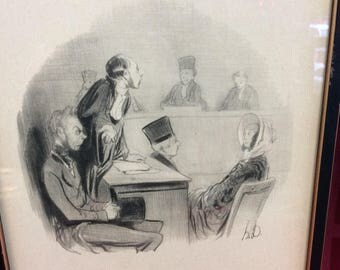 c.1808-1879 Honore Daumier, French Artist/Cartoonist. Caricaturist of Courtroom Scenes Framed Lithograph #24