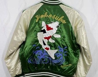 BiG SaLe Sukajan jacket Koi Fish Embroidered Souvenir Satin Bomber Jacket SIze Medium / Japan SOuvenir / Vintage Sukajan Jacket / Satin Jack