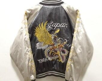 MEGA SALE 25% Sukajan Jacket Vintage Sukajan Japan Yokosuka Dragon Eagle Satin Embroidery Souvenirs Jacket Rare