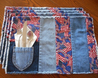 All American Flags and Apples Pocket Placemats