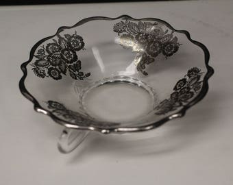 Silver Overlay Candy Bowl/Dish With Handles