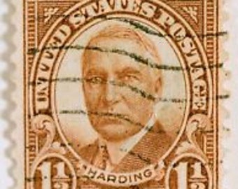 President Harding 1930 United States Postage Stamp, Scott #684, Lots, Vintage, cancelled, 1 1/2 cent stamp