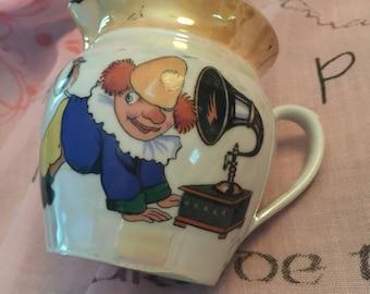 Antique Lusterware French Pitcher, Clown and Gramaphone, Bird, Paris