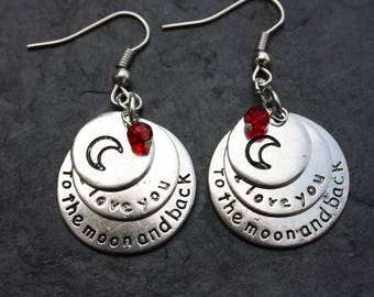 Earrings 3 medals inscription i love you to the moon and back silver metal
