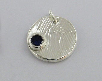 Birthstone Fingerprint Jewelry, Fingerprint Charm, Fingerprint Pendant, Silver Fingerprint, Birthstone Fingerprint, Birthstone Jewelry