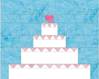 Wedding Cake 12 inch Paper Piece Foundation Quilting Block Pattern PDF