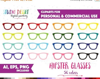 SUMMER SALE - 55% OFF 54 Rainbow Hipster Glasses Clipart Vector Clip Art Planner Stickers Eyeshades Clipart Personal & Commercial Use Reader