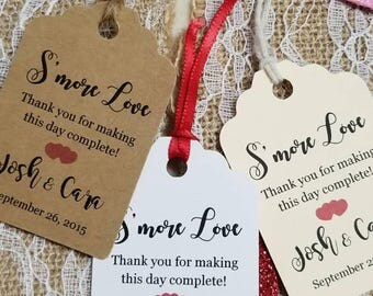 Personalized Favor S'more Love Tags 2.5Lx1.8w'', Wedding tags, Thank You tags, Favor tags, Gift tags, Bridal Shower Favor Tags,