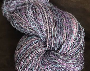 Lavender and pink hand spun two ply yarn