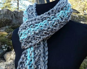 Chunky soft Scarf, Light Turquoise Scarf, Chunky Infinity Cowl, Chunky scarf, Adjustable Cowl, Infinity Scarf, Grey Scarf, Scarf Cowl, Grey