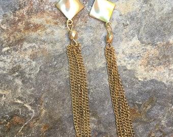 gold tassel earrings long dangle earrings gold gold chain tassel earrings gift for her dangle earrings
