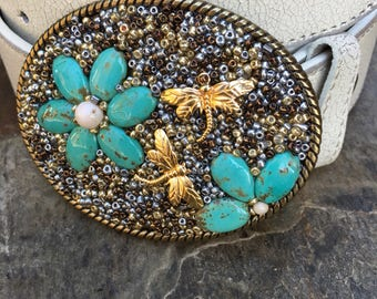 bohemian belt buckle  gypsy country chic dragonfly belt buckle silver & gold glass beads embellished green stone flower belt buckle women's