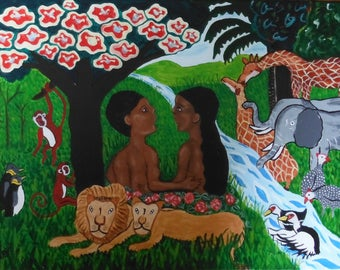 Adam and Eve in the Garden of Eden, Acrylic painting on canvas