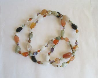 Multi-Stone - Long Necklace - Beggar's Beads - FREE SHIPPING!