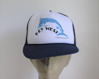 1987 Key West trucker hat/ Marlin Mallory Market flatbrim Trucker style baseball cap/key west souvenir hat