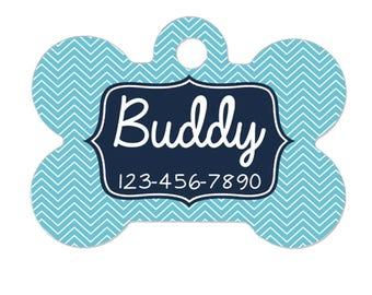 Personalized Dog Tag - Blue Chevron Dog Id Tag - Personalized Bone Dog Tag - Pet Gift - Custom Pet Id Tag