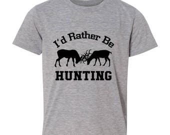 Hunting Gift for Men - I'd Rather Be Hunting Mens Tshirt - Gray Tshirt Hunter
