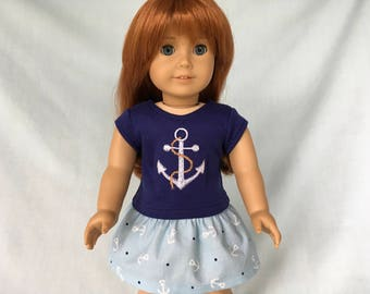 Nautical Anchor T-Shirt and Anchor Skirt for American Girl/18 Inch Doll