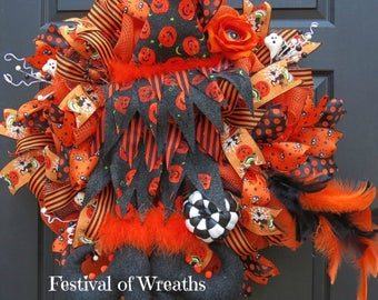 Halloween Deco Mesh Wreath - Halloween Front Door Wreath - Halloween Witch Wreath - Witch Deco Mesh Wreath - Halloween Mesh Wreath - Witch