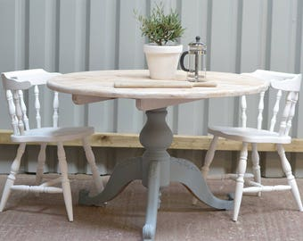 White round kitchen table, pine dining table, white and grey table, rustic kitchen table, white table, pedestal table, rustic pine table
