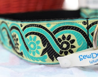 Sample Sale Large Doggy 1.5 inch Turquoise and Black Collar/Waves/Geometric design