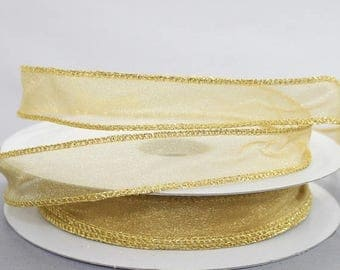 """70% off Sale 50 yards Gold Sheer Wire Edge Ribbon - Ribbon for Wreaths, Gift Wrap Ribbon, 7/8"""" wide ribbon"""